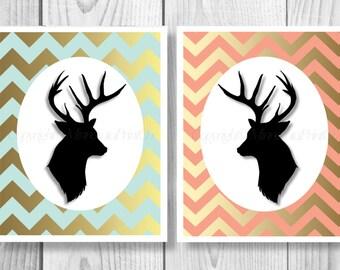 Deer Decor Printable, Deer Decor Download Print, Deer Head Digital Download, Deer Head,Cabin Decor, Deer Decor Head, Chevron Deer, Deer 0218