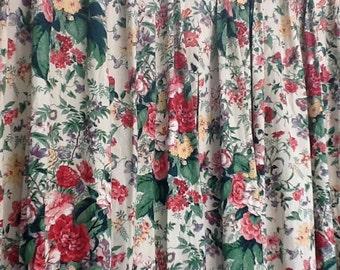 Curtain's,Vtg.70's / 80's Home Decor,Heavy Floral Cotton Drapes