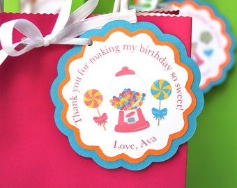 Candy Land Theme Party Thank you gift tags Goodie Bag Tags Candy Gum Ball Gift Tag Candy Theme Birthday Party