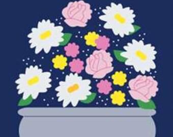 Floral Arrangement Handcrafted Applique House Flag