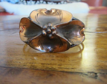 Vintage Stuart Nye Sterling and Copper Dogwood Cuff Bracelet