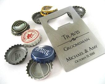 Engraved Bottle Opener - Stainless Steel Opener - Beer Bottle Opener -  Personalized Groomsmen Gift -  Credit Card Opener - Wallet Opener