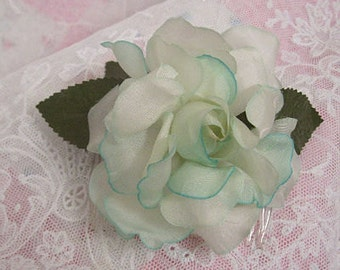 Beautiful Vintage Organza Flower with Haircomb Attached Off White Tipped with Mint Julep