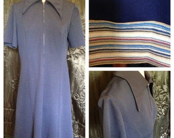 1970's vintage Ladies navy blue dress size 16 - 18