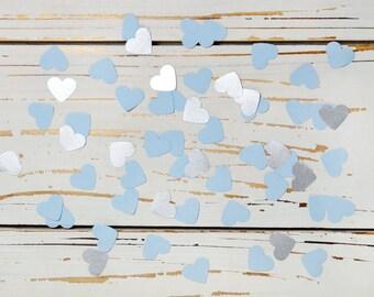 heart confetti light blue and silver