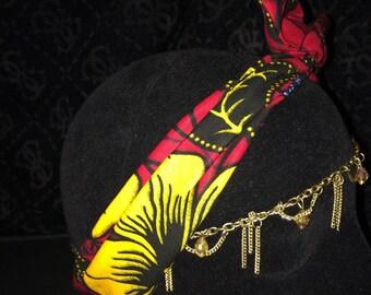 "Bandeau bunny ""black pin-up"" foulard en wax positionnable"