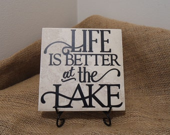 Life is Better at the Lake Vinyl Decal Quote Tile, Life is Better at the Lake Quote Tile, Summer Decor, Lake Cabin Decor