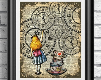 dictionary book page print alice in wonderland catching the clock art print on old book - Prints On Old Book Pages