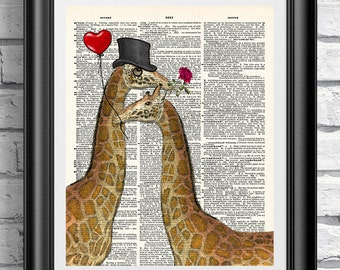 Giraffes in love, dictionary art print, old book page wall decor on mixed media antique dictionary book page. Wall art animals dandy giraffe