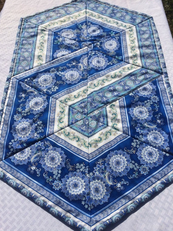 Quilted Table Runner Triangle Frenzy By Heathersquaintquilts