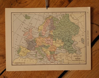 "1921 - Europe Map - Antique Atlas Map 6"" x 8"""