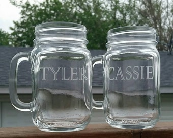 Custom Name Etched Mason Jar Mugs - Set of 2