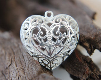 Pendant - filigree -Victorian Heart pendant / charm / cage - clear crystals included inside