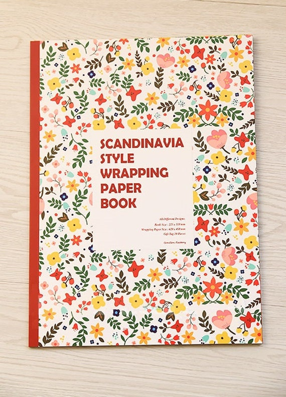 scandinavia style wrapping paper book 10 designs with gift