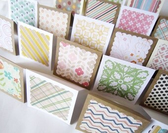 """3"""" x 3"""" Mini Note Cards with Envelope / Blank Note Cards / Thank you cards / Mini Thank You Enclosures / Assorted Patterns  / Set of 20"""