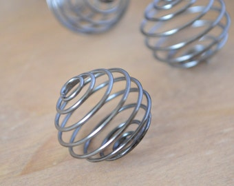 Ten Wire Spiral Pendants ~ Crystal Cage ~ 20 mm ~ Iron Black