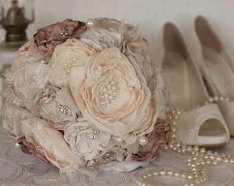 Fabric Flower Burlap and Brooch Wedding Bouquet, Ivory, Cream and Dusty Pink Satin, Bridal Bouquet, shabby chic flowers, vintage inspired