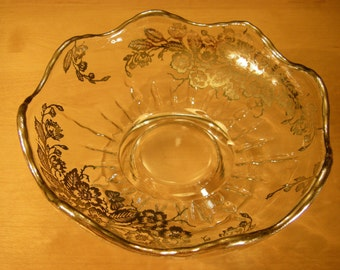 """Footed Glass Bowl with Silver Floral Applique and Rim, 6"""" Diameter"""