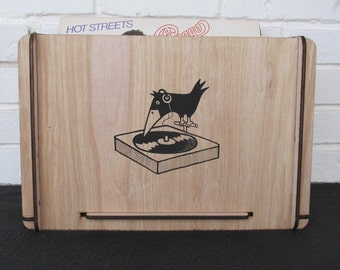 Vinyl LP Storage Crate with Retro Graphic Design