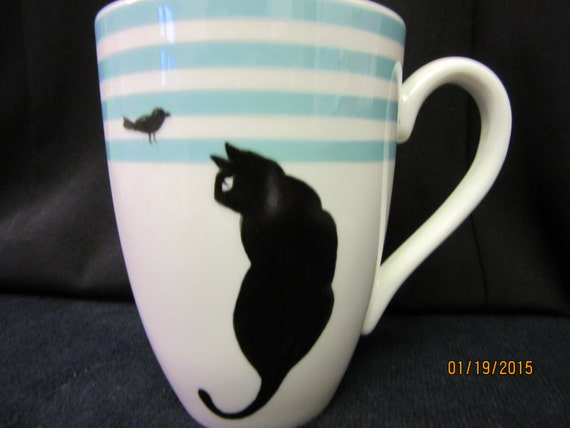 Cup/MUG Aqua and White, Black Cat bird ; Gift Finds, Valentine's Day Finds; Porcelain Ceramic; Hand Painted Kiln Fired by B Marsh 14 oz CUP
