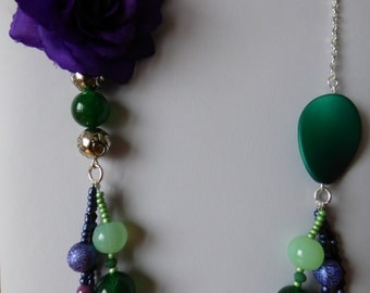 Necklace Purple / Green Daisy - Made in FRANCE