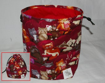 Knitting / Crochet Drawstring Project Bag. Scaredy Cats Print. Choose the interior color!