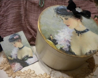 "Shabby Chic Paper Mache Decorative Box ""Make Up"" with matching Tag."