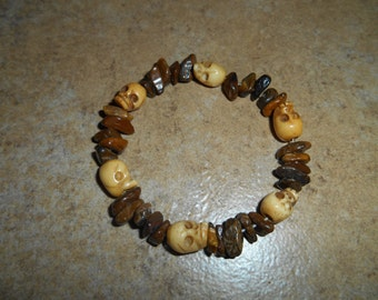 Bone Skull Bracelet with Tigers Eye