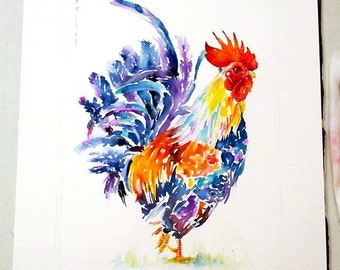 a rooster - mounted original painting