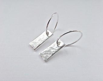 Rectangular earrings, Fine silver earrings, Hammered earrings, 925 hoops, Textured charms, 925 dangle earrings, Silver hoops, UK seller