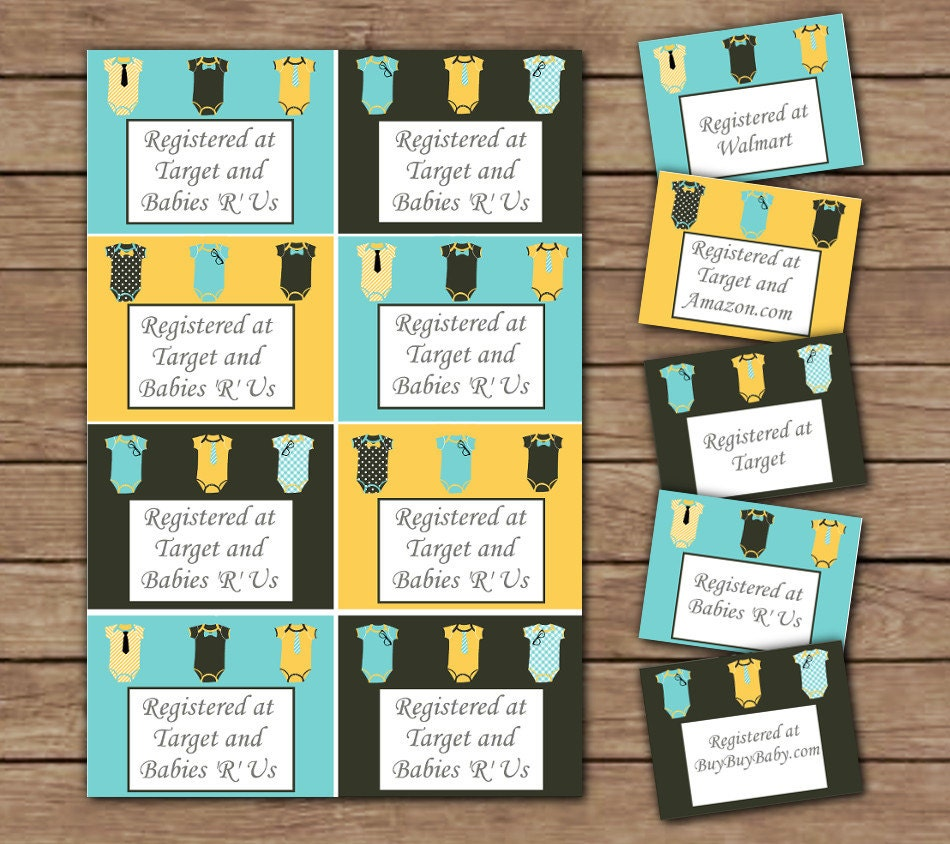 Registry Inserts Template: LIttle Man Registry Card Inserts Printable By Cocoandjojosroom