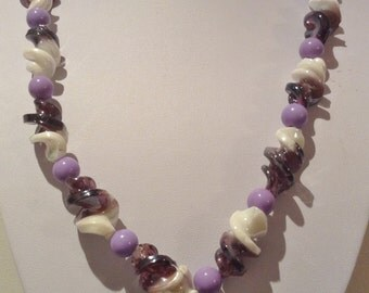 Necklace. 58cm  Large Twisted High Quality Lampwork Glass beads. Two Toned. Purple/white 10mm round Mauve Glass spacers