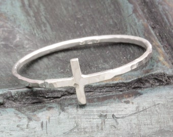 1.3 mm 925 sterling silver hammered shiny cross rings (R_00014)
