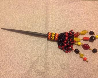 Native American Beaded Hair Stick