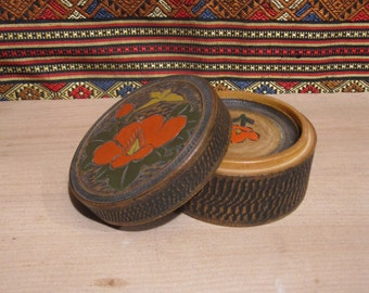Vintage Japanese Wood carved Coaster Set of 4 Camilia Flower