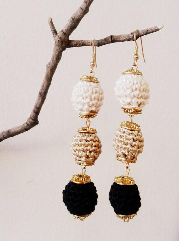 Ivory Gold Black Crochet Ball Earrings