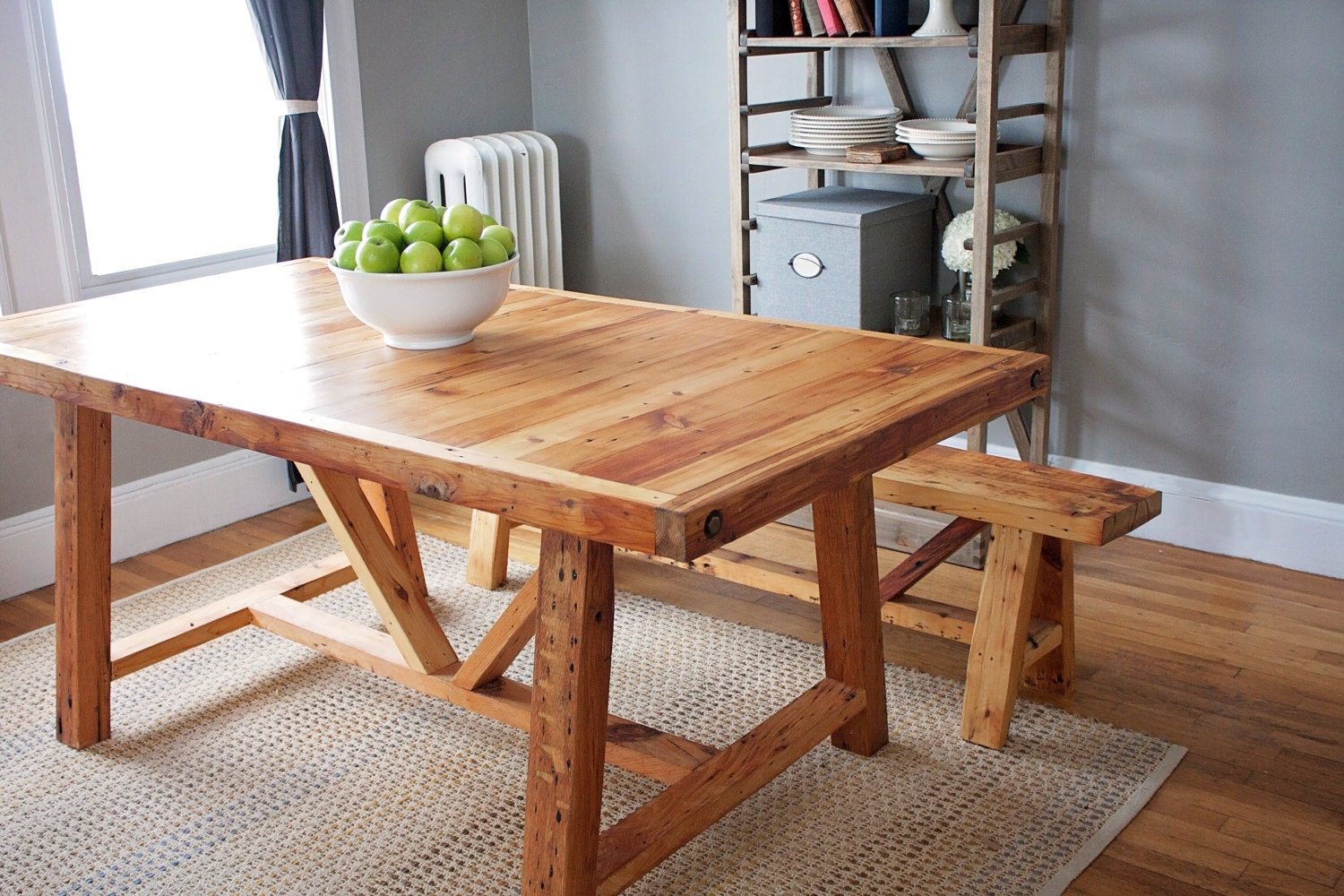 Reclaimed wood farmhouse dining table and bench by for Wood dining table decor