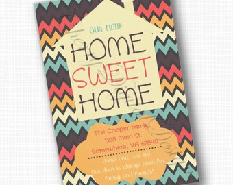 Printable or Printed Chevron Moving Announcement Modern Style.  We have moved announcement. Home Sweet Home! Address Change