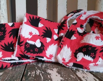 Pink Porcupine Bib and Burp Cloth Gift Set - Woodland Animal Bibs - Porcupine Bib and Burp Cloths, Soft and Cuddly - Pink Black and White
