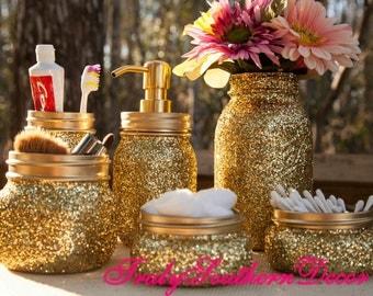 6 piece Gold glitter bathroom set. Mason Jar Bathroom Set.
