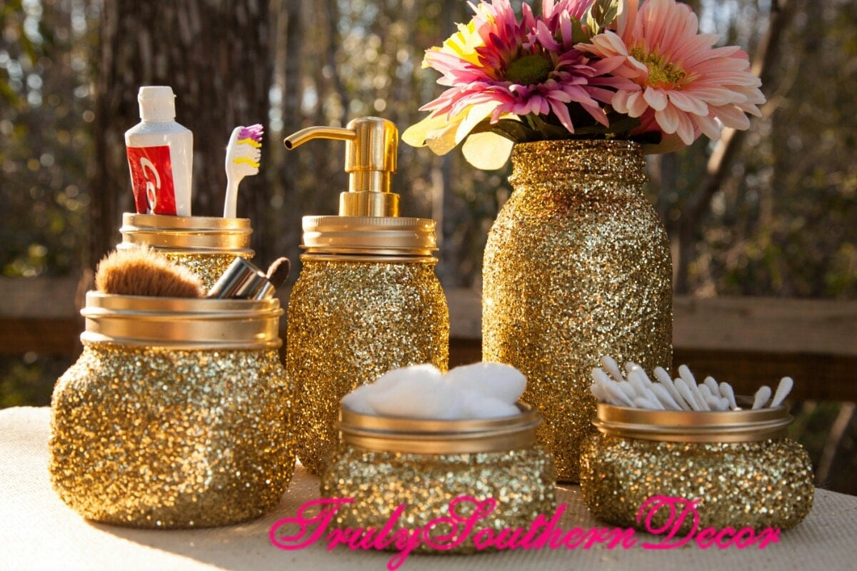 6 piece Gold glitter bathroom set. Mason Jar Bathroom Set.