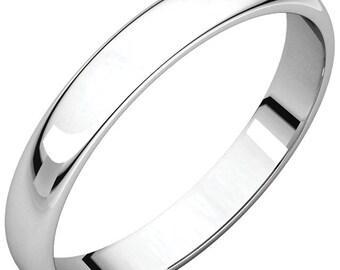 14K White Gold 3mm Half Round Light Band Wedding Ring Custom Engraved Personalized CKLHRL