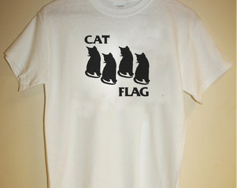 Cat Flag T-Shirt black flag parody hardcore punk joke meme funny tumblr kittens grumpy cat cheezburger hipster indie 80s 90s S M L XL