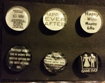 Set of 6 Strong Glass magnets, Funny, humor Marriage, wedding, engagement gift, refrigerator Magnets, fridge magnets, kitchen decor