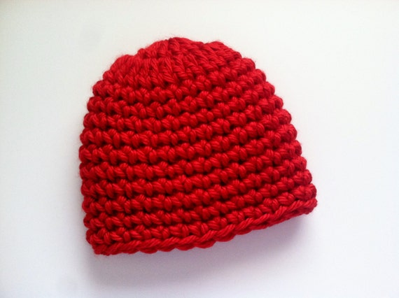 Crochet Hat Pattern Super Bulky Yarn : Super Bulky Crocheted Hat Chunky Red Beanie by ...