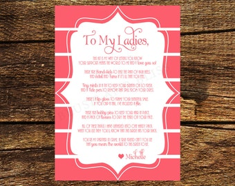 Printable Bridesmaid Survival Kit Poem Card Digital File