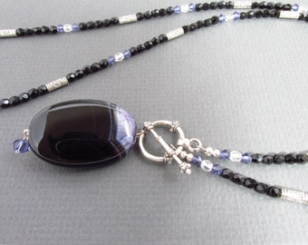 Black agate pendant necklace, banded agate, long necklace, black necklace, gemstone necklace, agate necklace, fashionable necklace