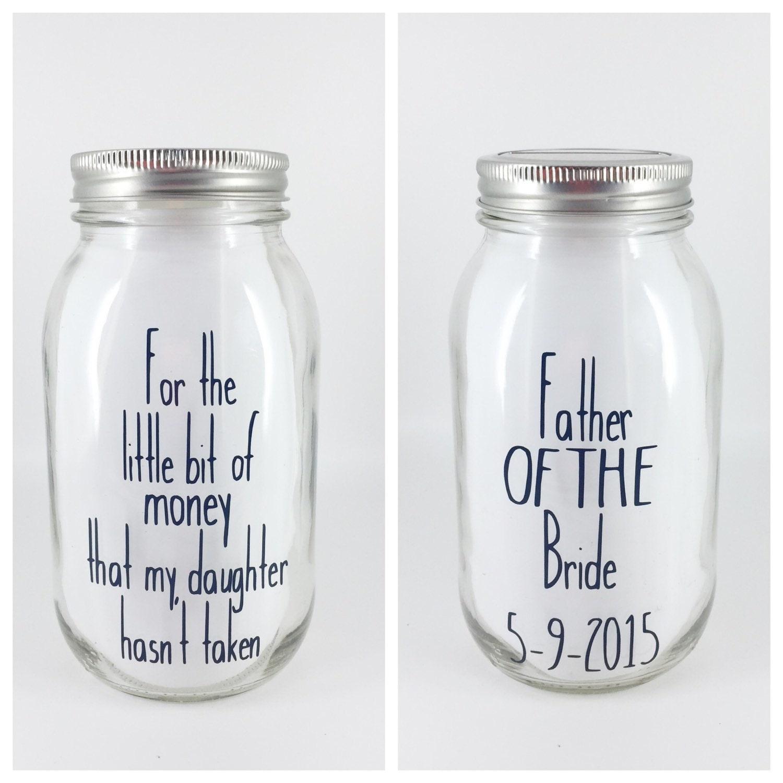 Mason jar piggy bank father of the bride bank by for Mason jar piggy bank