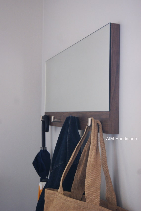 walnut hallway coat rack mirror with stainless by aimhandmade. Black Bedroom Furniture Sets. Home Design Ideas