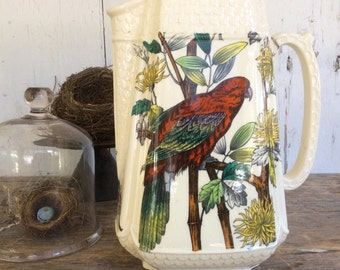 Antique Ironstone water pitcher with polychrome transfer printing of a swallow and a parrot
